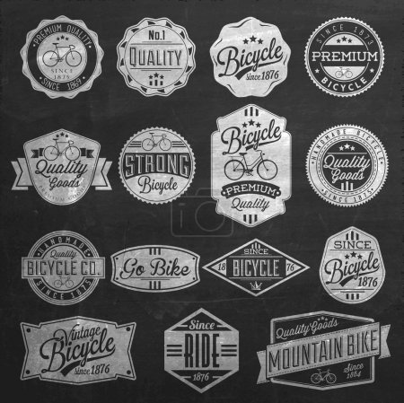 Illustration for Vintage Frame With Bicycle Label Set Template On Chalkboard - Royalty Free Image