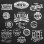 Vintage Coffee Labels On Chalkboard
