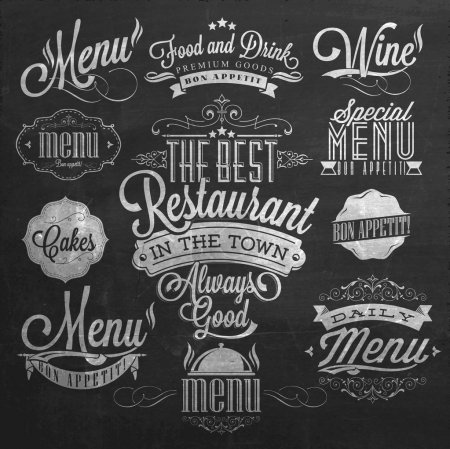 Illustration for Illustration of Vintage Typographical Element for Menu On Chalkboard - Royalty Free Image