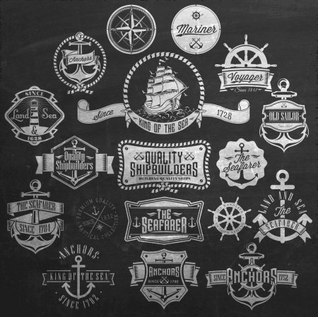 Nautical Badges And Labels On Chalkboard