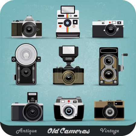 Illustration for Set Of Nine Retro Camera - Royalty Free Image
