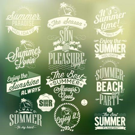 Retro Elements For Summer Calligraphic Designs
