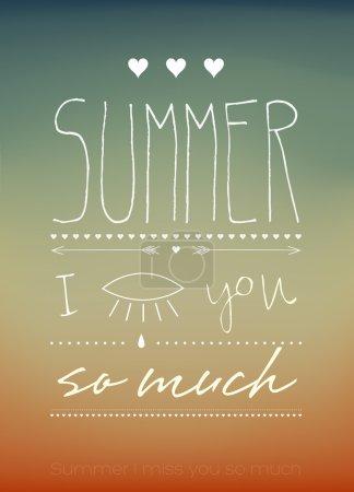 Illustration pour Summer Tu me manques tellement Typographique - image libre de droit