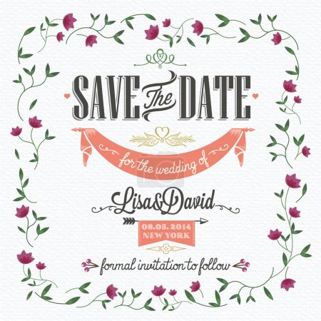 Illustration for Save The Date, Wedding Invitation Card - Royalty Free Image