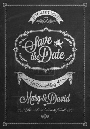 Illustration for Save The Date Wedding invitation Card On Blackboard With Chalk - Royalty Free Image