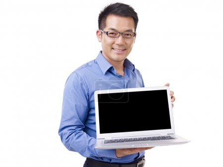 Asian businessman and laptop