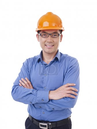 Photo for Portrait of asian man with orange safety hat, isolated on white. - Royalty Free Image