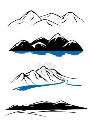 Illustration pour Ensemble de vues sur la montagne - image libre de droit