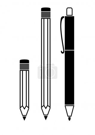 Illustration for Pen and pencil icons - Royalty Free Image
