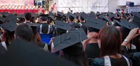 Photo for Shot of graduation caps during commencement - Royalty Free Image