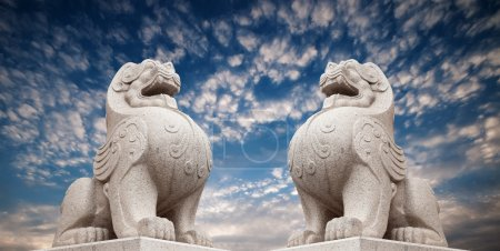 Stone Lion sculpture, symbol of protection & power in Oriental Asia especially China