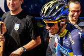 Alberto Contador talking with his fans in the Tour of Basque Country