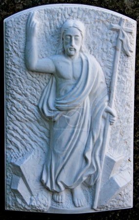 The Risen christ relief in cementary