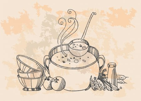 Illustration for Retro cooking pot - Royalty Free Image