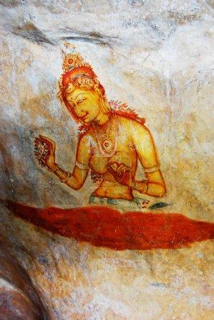 ancient fresco on mount Sigiriya