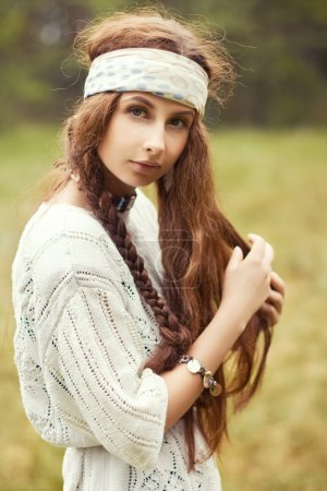 hippie girl in the country