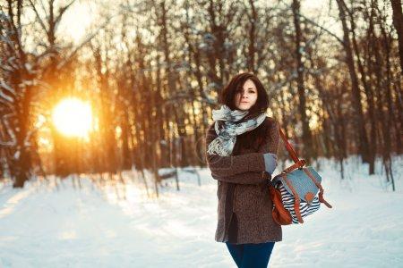 girl in the winter park.
