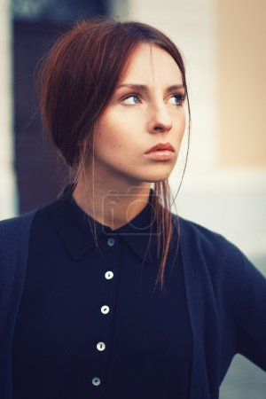 Portrait of young attractive brunette