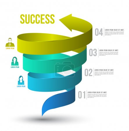 Illustration for Arrow twist up to success number options with icons. Vector illustration and can use for business concept, report, data presentation, plan or education diagram. printing and website template. - Royalty Free Image