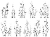 Set of vector silhouettes of bamboos