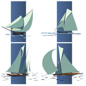 Simple vector group of ship with sails