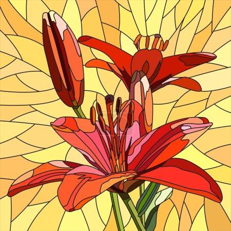 Illustration pour Mosaïque vectorielle avec de grandes cellules de lis rouge vif avec des bourgeons sur jaune . - image libre de droit