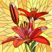 Vector illustration of flower red lilies