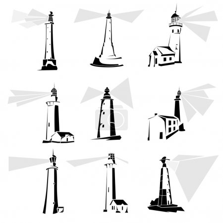Set of black and white lighthouse icons.