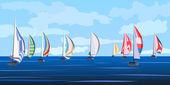 Vector illustration of sailing yacht regatta