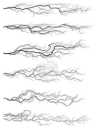 Set of silhouettes of thunderstorm horizontal lightning.