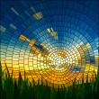 Vector illustration of sunset in blue sky in grass...