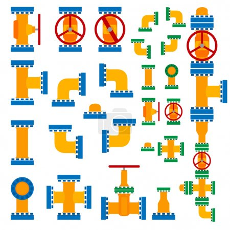 Illustration for Set of simple vector illustration pipeline elements in cartoon style. - Royalty Free Image