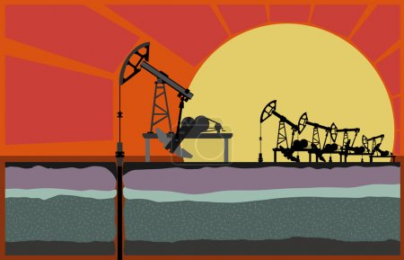 Oil pumping unit against sunset, with cut of soil ...