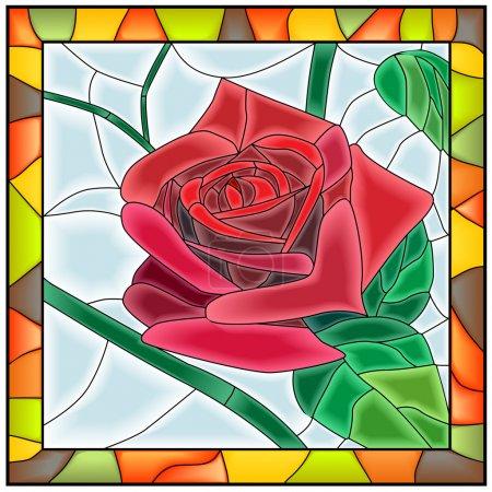 Vector illustration of flower red rose.