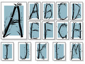 Bamboo alphabet font in asian style in frame(Part 1)