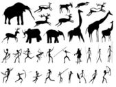 Set of pictures of and animals in the prehistoric period