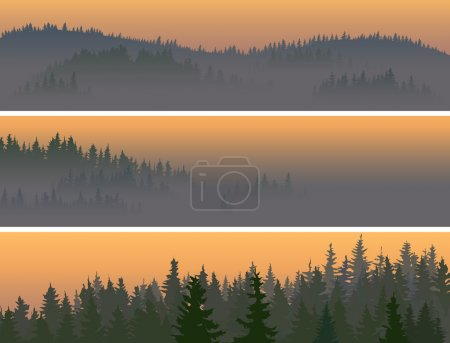 Illustration pour Bannières horizontales de vallée au milieu de bois de conifères dans un brouillard matinal . - image libre de droit