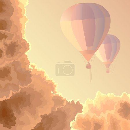 Illustration for Vector square illustration: two air balloons among clouds in the morning. - Royalty Free Image
