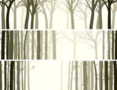 Vector abstract horizontal banner with many tree trunks (coniferous and deciduous forest)