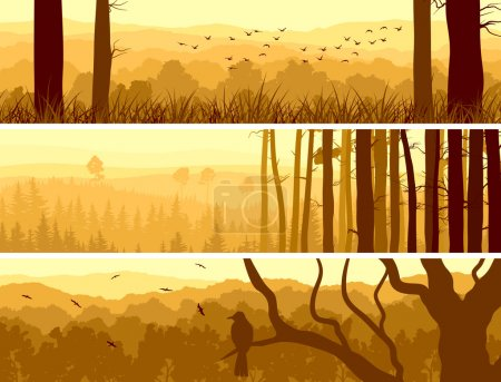 Illustration for Horizontal abstract banners of hills of deciduous wood with birds in yellow tone (sunset). - Royalty Free Image