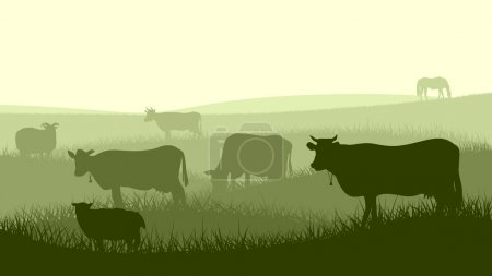 Horizontal illustration of farm pets.