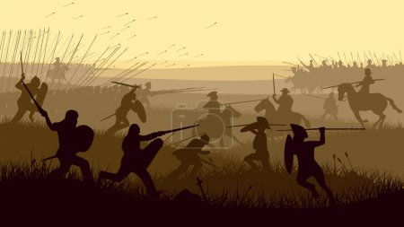 Horizontal vector illustration of battle fighting ...