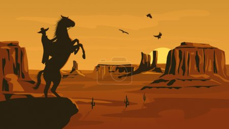 Illustration for Horizontal cartoon illustration of prairie wild west with cacti and hero of the wild West leaves in decline. - Royalty Free Image