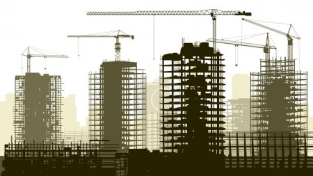 Photo for Horizontal vector illustration of construction site with cranes and skyscraper under construction. - Royalty Free Image