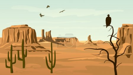 Illustration for Horizontal cartoon illustration of prairie wild west with cacti and birds of prey. - Royalty Free Image