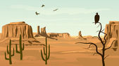 Horizontal cartoon illustration of prairie wild west