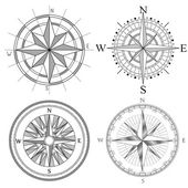 Set illustration of artistic compass.