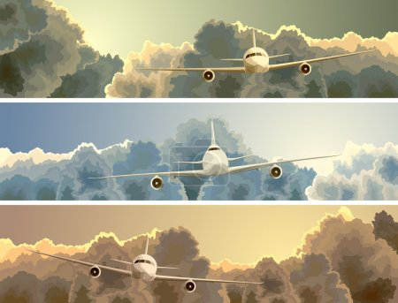 Illustration for Vector horizontal banner with big plane on background of clouds at sunset. - Royalty Free Image