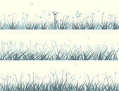 Vector of horizontal banners abstract meadow grass with flowers in pale yellow green
