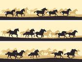Horizontal illustration herd of horses